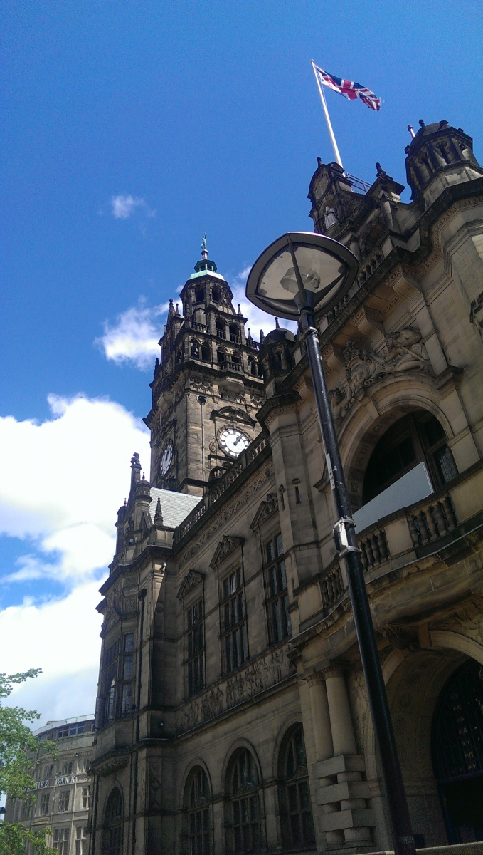 Looking up at Sheffield City Hall