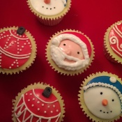 Lemon flavoured cupcakes festively decorated