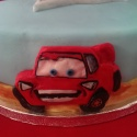 Close-up of Lightning McQueen.