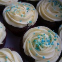 Chocolate cupcakes with vanilla buttercream icing