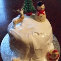 Small simple Christmas cake decorated with a Christmassy scene