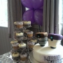 Gluten free wedding cake with gluten free chocolate cupcakes and lavender cupcakes